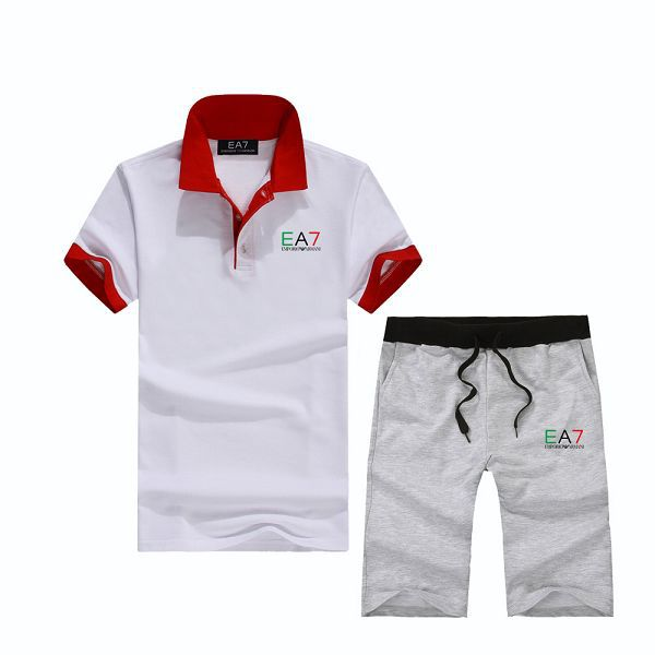 armani 套裝 2017新款 EA7時尚男生休閒翻領短袖套裝 灰白紅