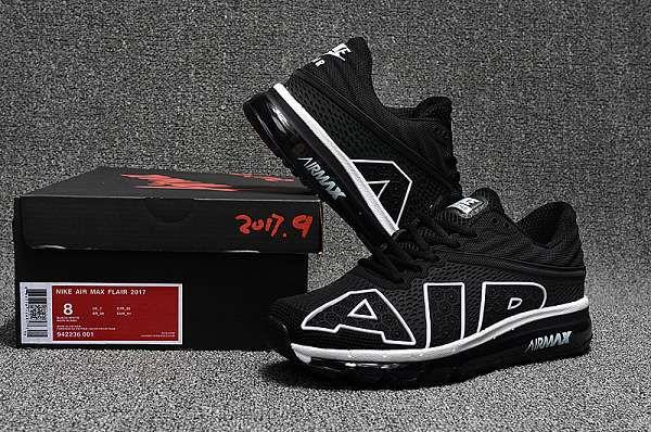 nike air max flair max2017.9系列 納米滴塑大字母氣墊情侶鞋 黑白色