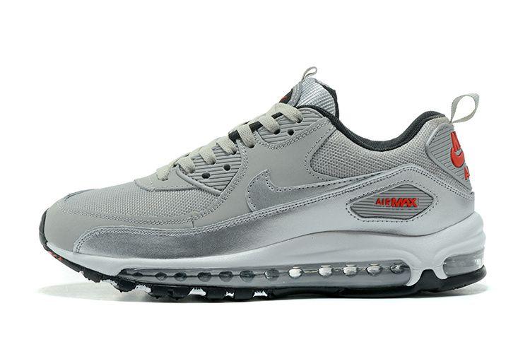 Nike Air Max 90+97 hybrid 2017新款 混合版全掌氣墊情侶運動鞋 銀灰色