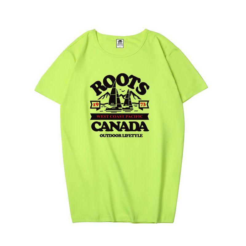 roots短袖 2018新款 純色休閒圓領情侶短袖T恤 PF265款