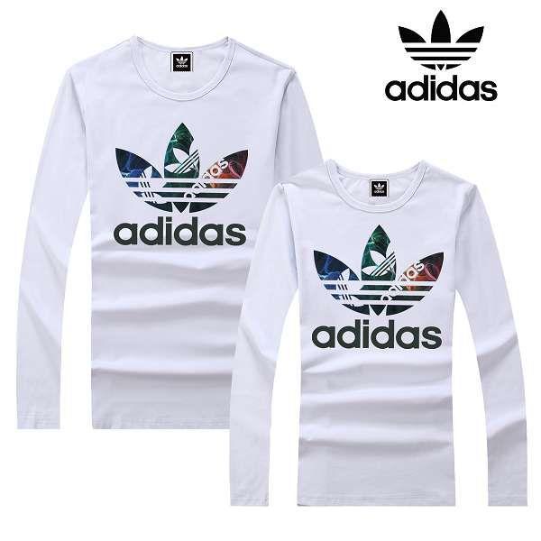 adidas衣服 2017經典款式 大三葉草煙霧logo印花休閒情侶圓領長袖T恤 白色