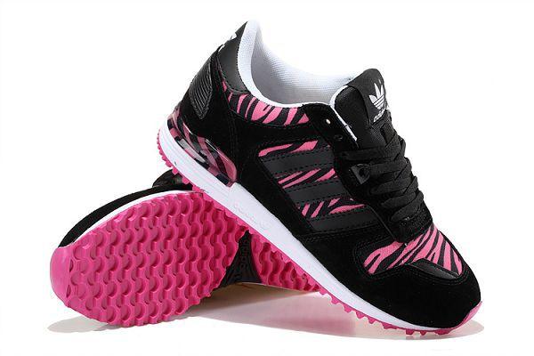 adidas originals zx700 w 範冰冰上腳 斑馬紋復古透氣女生跑鞋 黑粉紅