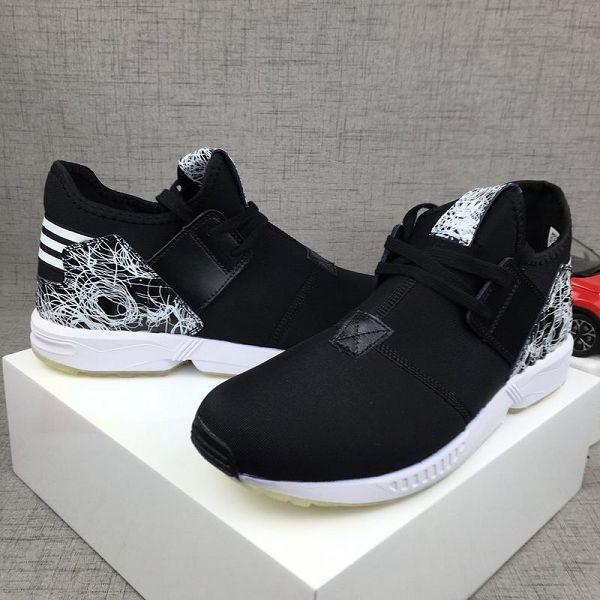 adidas originals zx flux plus tubular y-3 三葉草時尚男生跑步鞋 黑白色