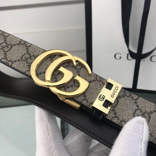 gucci皮帶 古馳2018新款 HF76雙G壓紋鋼扣時尚腰帶