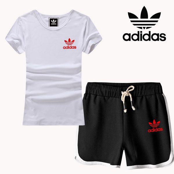 adidas 套裝 2017新款 小紅三葉草logo時尚女生休閒短套裝 黑白色