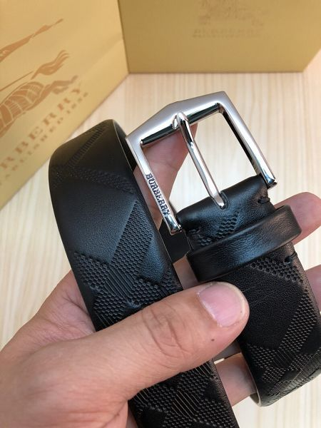 burberry皮帶 巴寶莉2018新款 ZJ雙面牛皮面壓斜條紋黑色皮帶