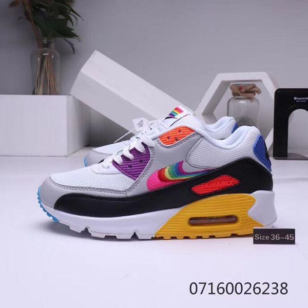 Nike Air Max 90 2019新款 七彩勾氣墊情侶款慢跑鞋