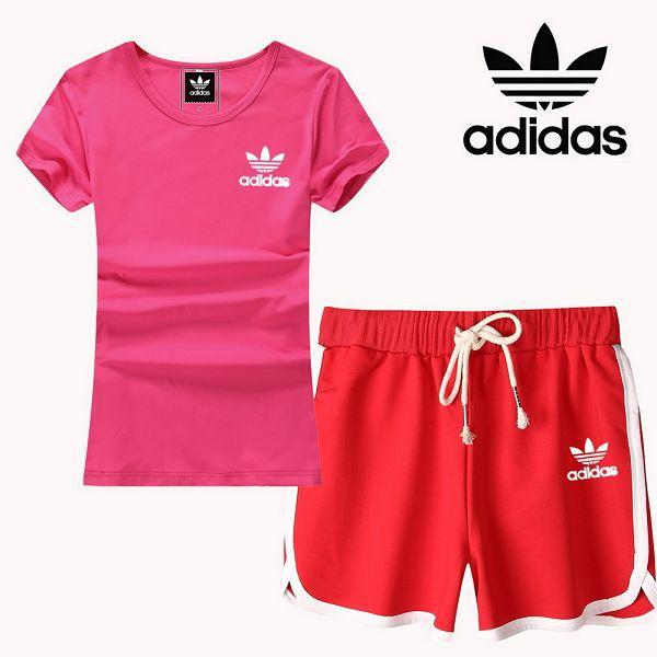 adidas 套裝 2017新款 小白三葉草logo時尚女生休閒短套裝 紅粉色