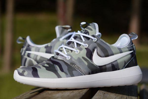 nike roshe two camouflage print 奧運倫敦2代 迷彩系列網面透氣情侶輕量跑鞋 灰綠色
