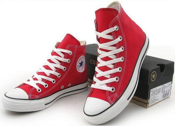 converse 匡威經典款帆布鞋 紅色高幫情侶款 休閒鞋