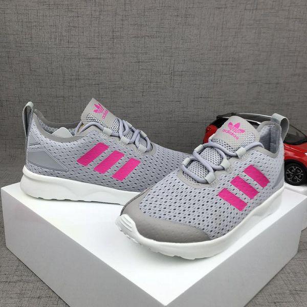 adidas originals zx8000 boost 三葉草網布透氣時尚女生跑鞋 灰桃紅