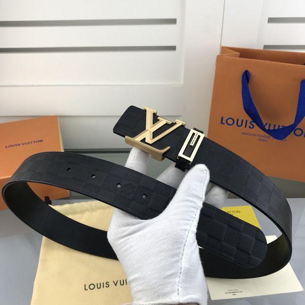 lv皮帶目錄 路易威登2018新款 HF105牛皮壓格時尚鋼扣腰帶