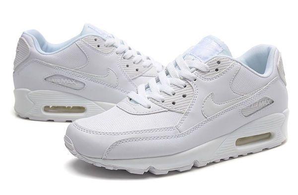 nike air max 90系列 經典熱賣款 網面透氣情侶跑鞋 全白色
