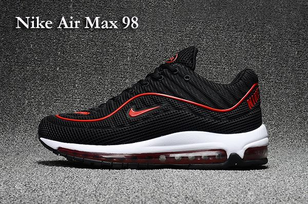 nike air max 98 x supreme 2017合作版氣墊跑鞋 透氣時尚情侶鞋 黑紅色