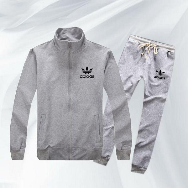 adidas套裝 2017新款 小黑色三葉草logo印花時尚男生休閒立領秋冬套裝 灰色