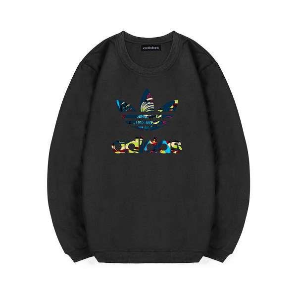 adidas 长袖 2018新款 花纹三叶草logo印花情侣圆领卫衣 黑色