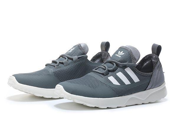 adidas zx flux adv virtue 2017新款 三葉草經典輕量網面透氣時尚情侶鞋 深灰白