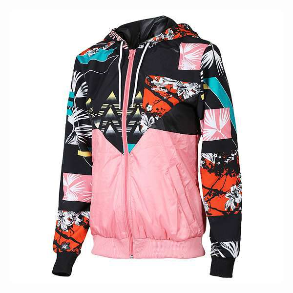 adidas外套 2017新款 花紋時尚女生休閒風衣外套 9547款粉色