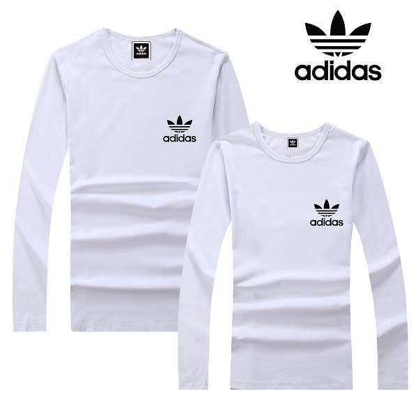 adidas衣服 2017經典款式 小三葉草黑logo印花休閒情侶圓領長袖T恤 白色