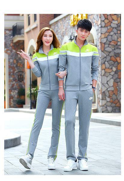 nike 套裝 2017新款 98601款時尚情侶立領長袖套裝 灰色