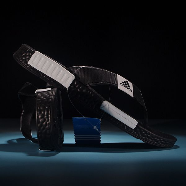 adidas nmd 2017 夏季新款 爆米花底人字拖時尚男生沙灘鞋 黑白色