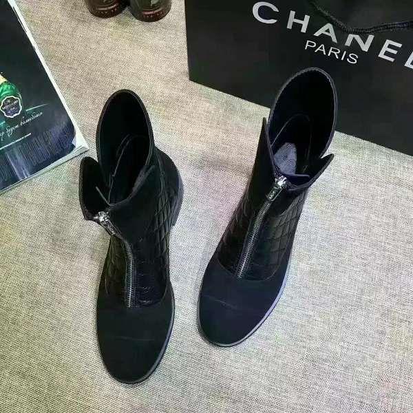 Chanel 靴子 2017新款 菱格高筒潮流女靴 黑色