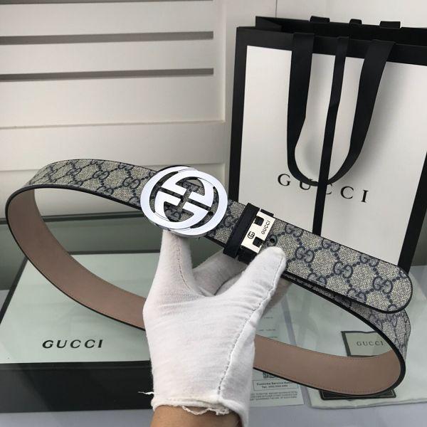 gucci皮帶 古馳2018新款 HF12牛皮磨砂壓紋鋼扣時尚腰帶