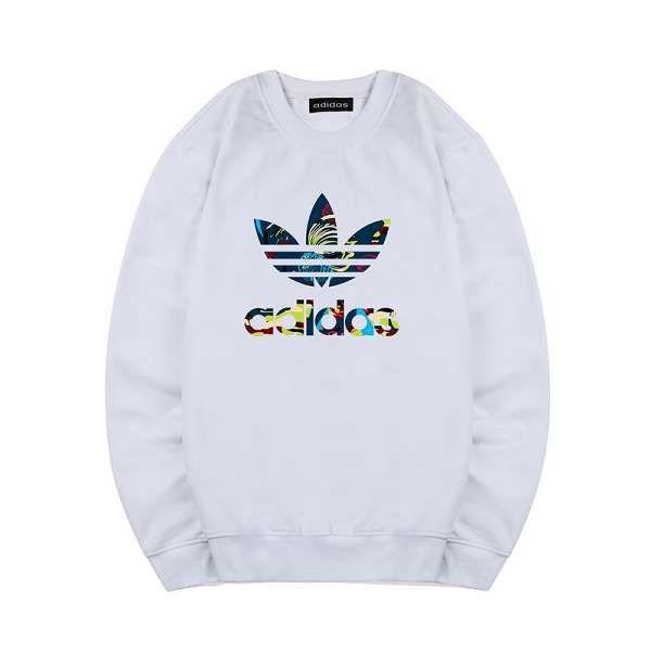 adidas 长袖 2018新款 花纹三叶草logo印花情侣圆领卫衣 白色