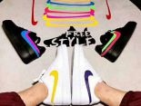 Nike Air Force 1 2018新款 魔術貼彩色換勾情侶板鞋 白色