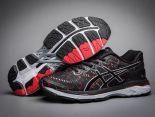 asics慢跑鞋 紐約馬拉松紀念版 亞瑟士緩震時尚男鞋 黑紅色
