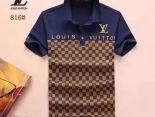 LV衣服 2018新款 經典格子翻領男生商務短袖 870款深藍