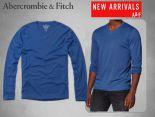 Abercrombie&Fitch 長袖 2017新款 經典休閒男生長袖T恤 V領小鹿A104款花寶藍