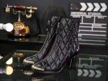 Chanel 靴子 2017新款 菱格拉鏈皮質女靴 黑色