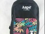 aape 背包 2017新款 字母葉子印花潮流運動包 黑色