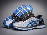 asics慢跑鞋 紐約馬拉松紀念版 亞瑟士緩震時尚男鞋 灰黑藍