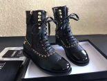 Chanel 靴子 2017新款 綁帶金色鏈高筒潮流女靴 黑色
