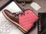 Chanel 靴子 2017新款 皮質軟呢菱格高筒潮流女靴 紅棕色
