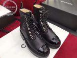 chanel 鞋 2018新款 珍珠機眼皮質系帶中筒靴 黑色