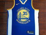 nba球衣 夏季新款 勇士吸汗透氣籃球服 35號藍白