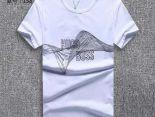 boss衣服 2018夏季新款 字母波浪線圓領男生短袖T恤 白色