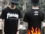 thrasher 短袖 2017新款 字母火焰時尚男生圓領短袖T恤 黑色