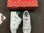 ADIDAS STAN SMITH X SUPREME 2017新款 LV聯名款皮質時尚情侶休閒板鞋 白綠