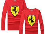Ferrari法拉利 2017經典款式 大logo印花休閒情侶圓領長袖T恤 紅色