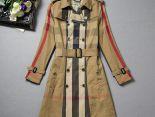 burberry風衣 2015秋冬新款 83151款雙排扣修身時尚格紋拼色中長款女裝外套 卡其色