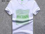 boss衣服 2018夏季新款 字母網圓領男生短袖T恤 白色