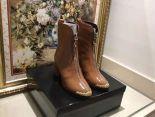 chanel 鞋 2018新款 香奈兒皮質拉鏈潮流女靴 棕色