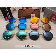 ray ban太陽眼鏡 雷朋2017年4月新款墨鏡 RB3517復古圓框太陽眼鏡