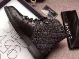 Chanel 靴子 2017新款 皮質軟呢菱格高筒潮流女靴 黑色