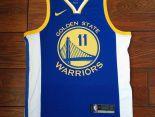 nba球衣 夏季新款 勇士吸汗透氣籃球服 11號藍白