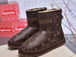 louis vuitton 鞋 2018新款 supreme聯名花皮羊毛保暖雪地靴 棕色